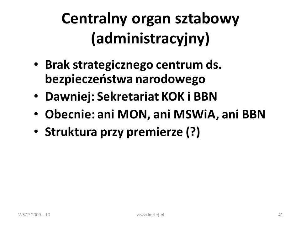 WSZP 2009 - 10www.koziej.pl41 Centralny organ sztabowy (administracyjny) Brak strategicznego centrum ds. bezpieczeństwa narodowego Dawniej: Sekretaria