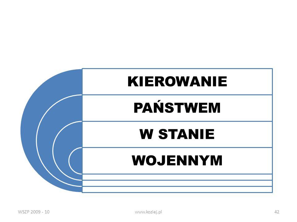 WSZP 2009 - 10www.koziej.pl42 KIEROWANIE PAŃSTWEM W STANIE WOJENNYM