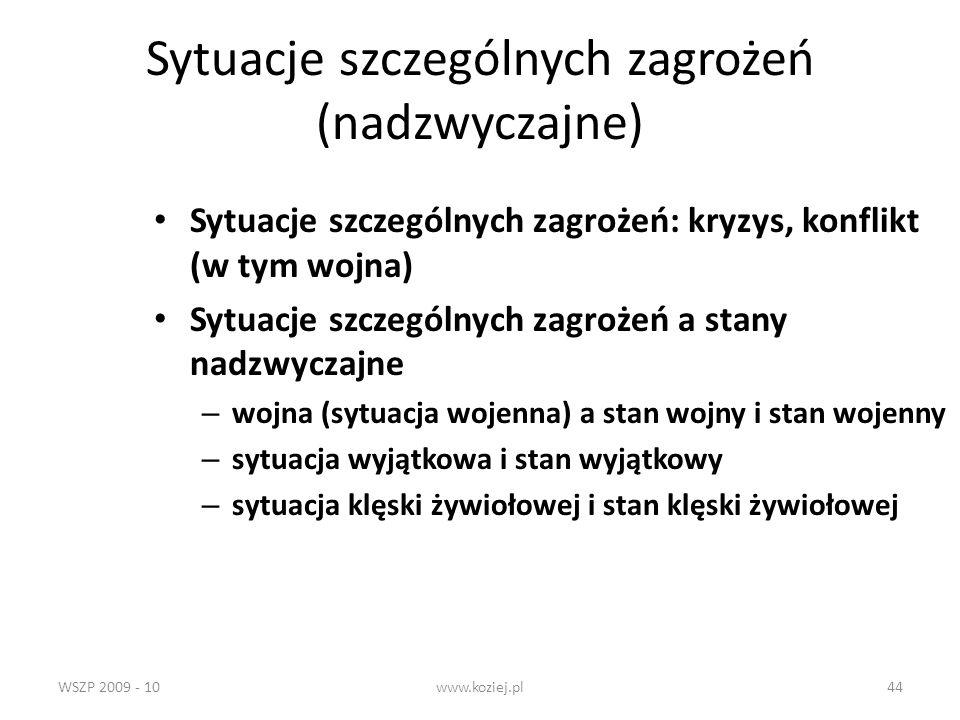 WSZP 2009 - 10www.koziej.pl44 Sytuacje szczególnych zagrożeń (nadzwyczajne) Sytuacje szczególnych zagrożeń: kryzys, konflikt (w tym wojna) Sytuacje sz