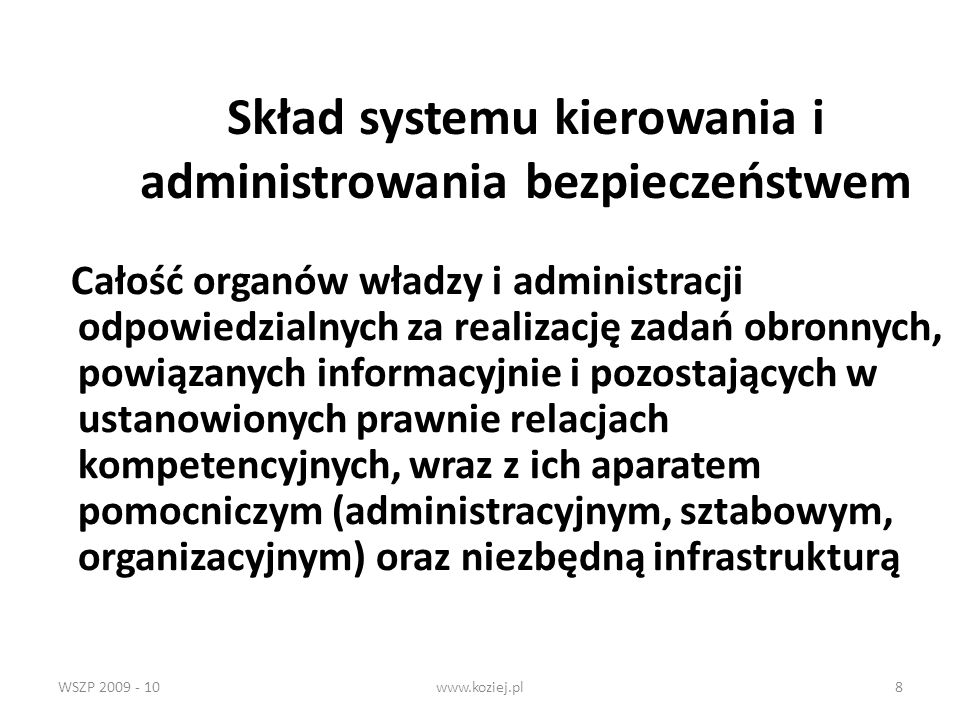 WSZP 2009 - 10www.koziej.pl89 6) kierowanie administracją rezerw osobowych dla celów powszechnego obowiązku obrony, 6a) ogólna koordynacja działań w zakresie ochrony informacji niejawnych w dziale obrony narodowej, 7) określanie celów, kierunków i zadań szkolnictwa wojskowego, 8) kierowanie sprawami kadrowymi Sił Zbrojnych, 9) kierowanie wykonywaniem obowiązku służby wojskowej, wychowywaniem żołnierzy oraz sprawami zaspokajania ich potrzeb socjalno-bytowych, 10) kierowanie sprawami zaspokajania potrzeb materiałowych, technicznych i finansowych Sił Zbrojnych,