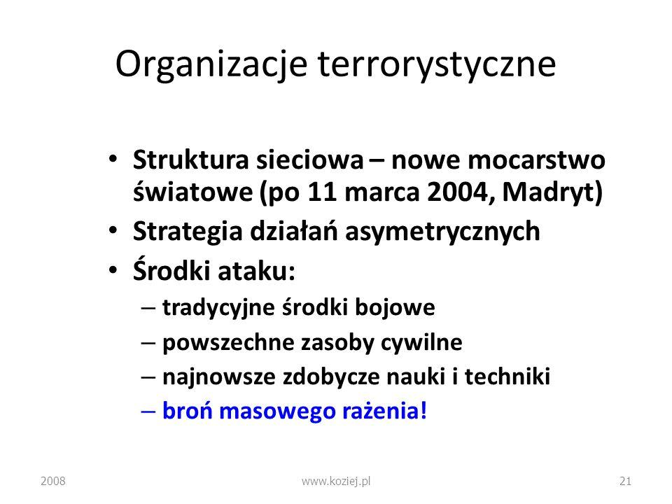 Organizacje terrorystyczne Struktura sieciowa – nowe mocarstwo światowe (po 11 marca 2004, Madryt) Strategia działań asymetrycznych Środki ataku: – tr