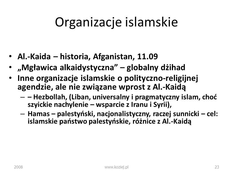 Organizacje islamskie Al.-Kaida – historia, Afganistan, 11.09 Mgławica alkaidystyczna – globalny dżihad Inne organizacje islamskie o polityczno-religi