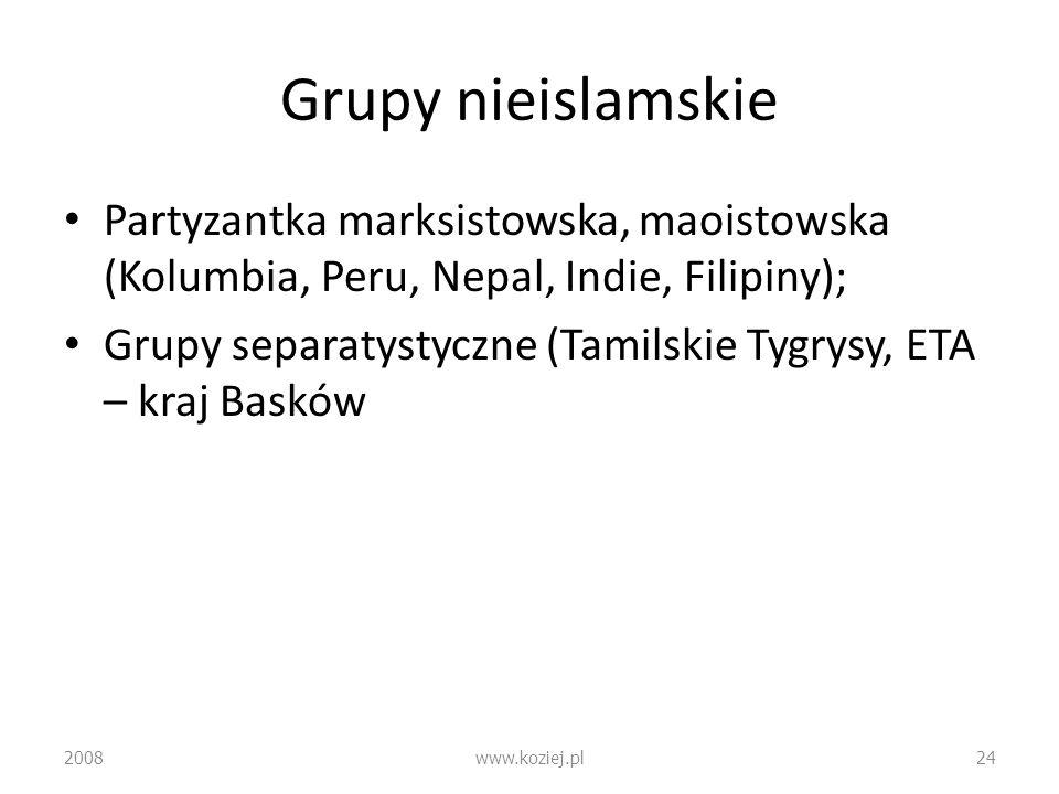 Grupy nieislamskie Partyzantka marksistowska, maoistowska (Kolumbia, Peru, Nepal, Indie, Filipiny); Grupy separatystyczne (Tamilskie Tygrysy, ETA – kr