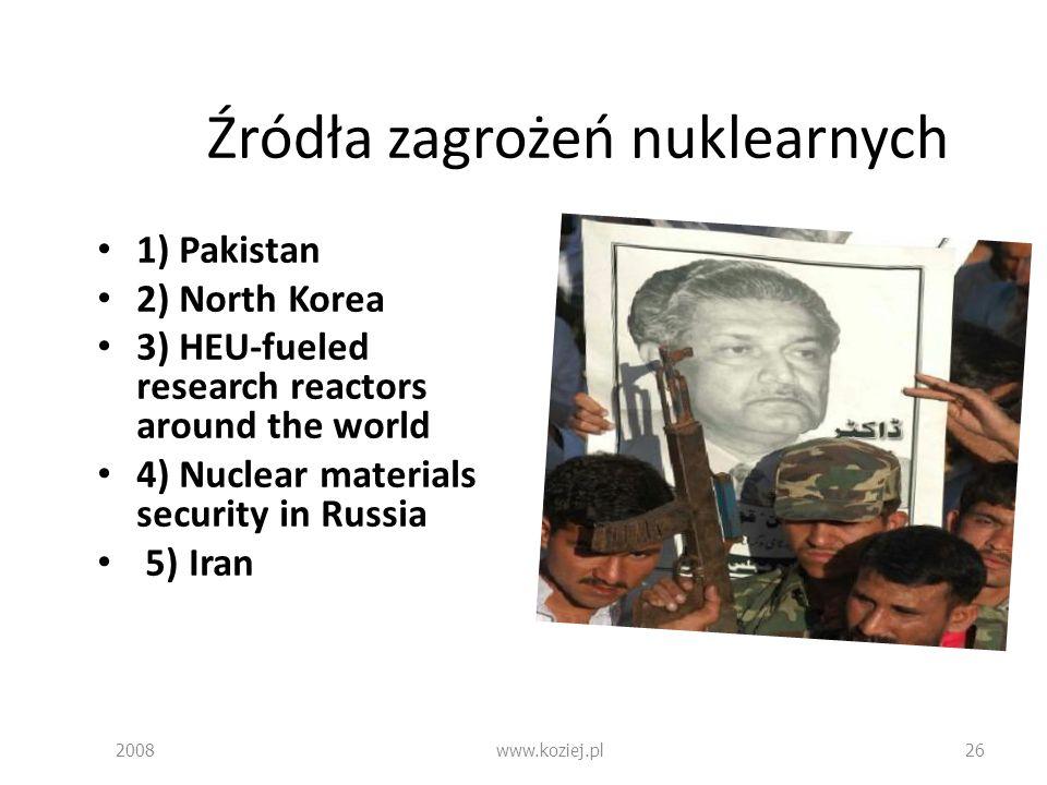 Źródła zagrożeń nuklearnych 1) Pakistan 2) North Korea 3) HEU-fueled research reactors around the world 4) Nuclear materials security in Russia 5) Ira