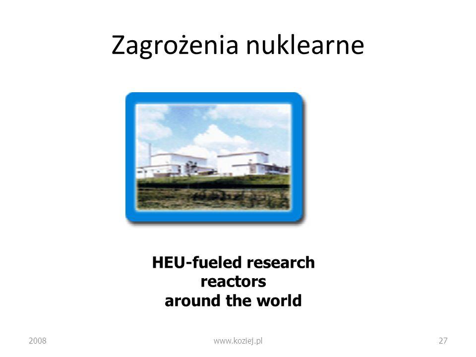Zagrożenia nuklearne 2008www.koziej.pl27 HEU-fueled research reactors around the world