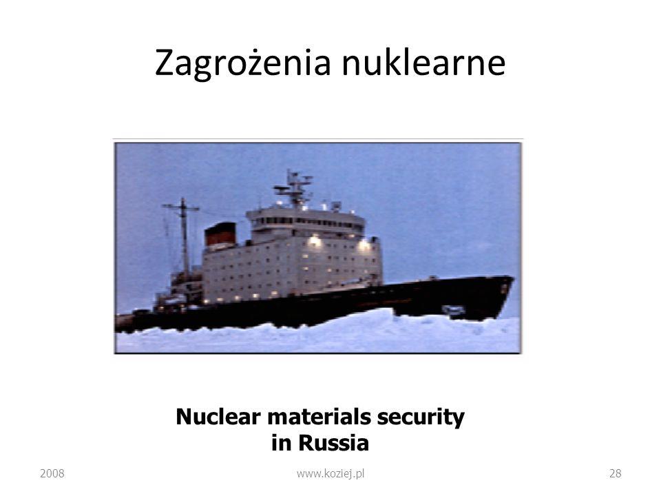 Zagrożenia nuklearne 2008www.koziej.pl28 Nuclear materials security in Russia