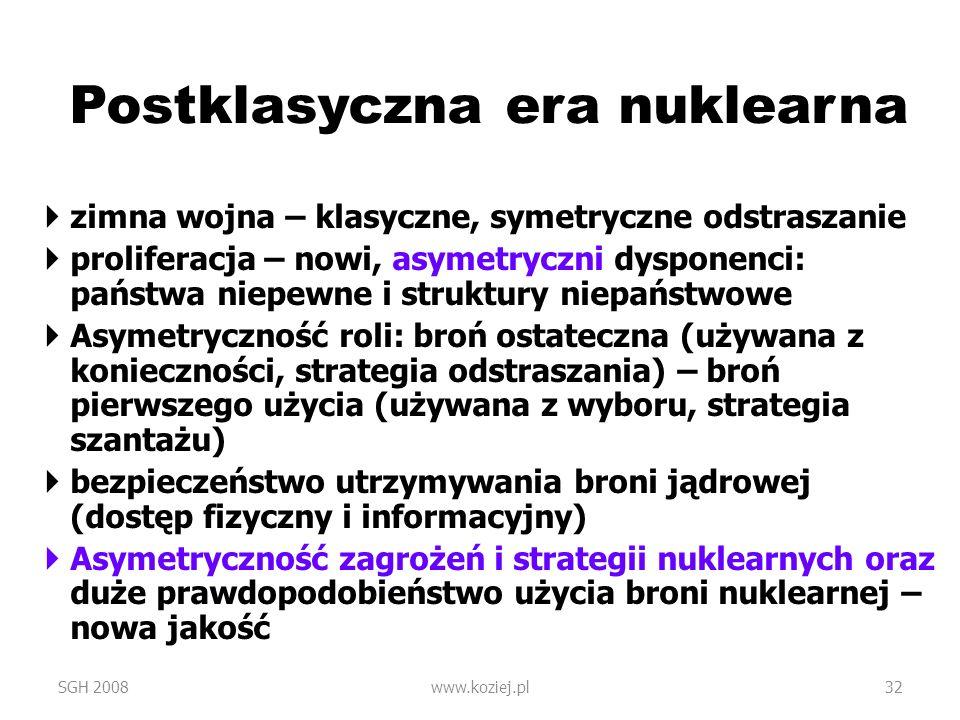 Postklasyczna era nuklearna zimna wojna – klasyczne, symetryczne odstraszanie proliferacja – nowi, asymetryczni dysponenci: państwa niepewne i struktu