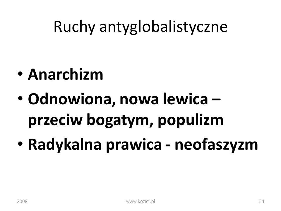 Ruchy antyglobalistyczne Anarchizm Odnowiona, nowa lewica – przeciw bogatym, populizm Radykalna prawica - neofaszyzm 2008www.koziej.pl34