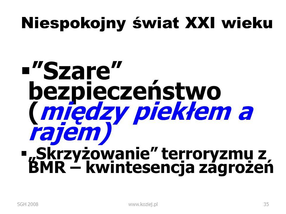 Niespokojny świat XXI wieku Szare bezpieczeństwo (między piekłem a rajem) Skrzyżowanie terroryzmu z BMR – kwintesencja zagrożeń SGH 2008www.koziej.pl3