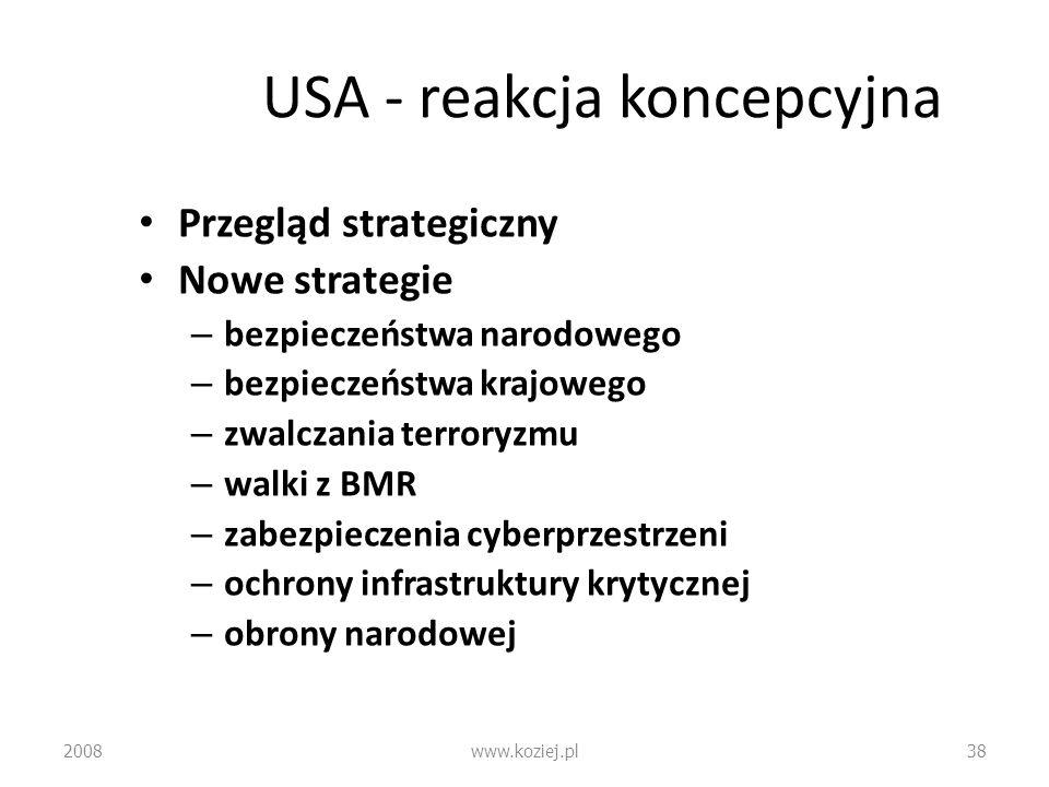 USA - reakcja koncepcyjna Przegląd strategiczny Nowe strategie – bezpieczeństwa narodowego – bezpieczeństwa krajowego – zwalczania terroryzmu – walki