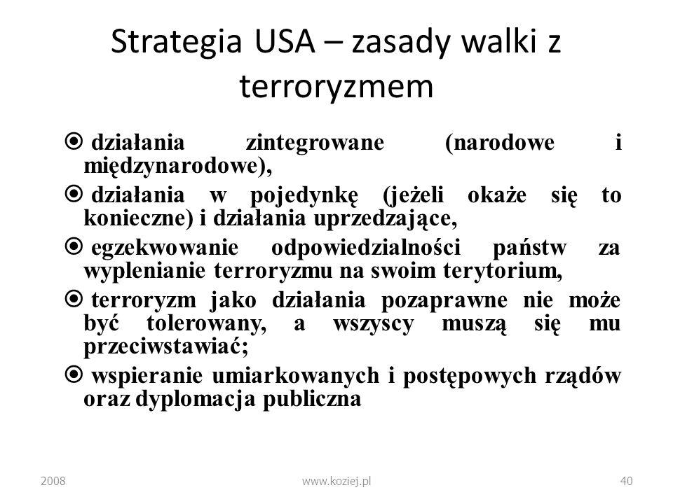 Strategia USA – zasady walki z terroryzmem działania zintegrowane (narodowe i międzynarodowe), działania w pojedynkę (jeżeli okaże się to konieczne) i