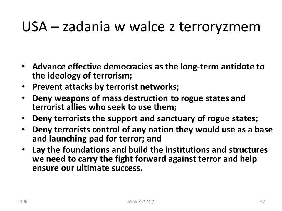USA – zadania w walce z terroryzmem Advance effective democracies as the long-term antidote to the ideology of terrorism; Prevent attacks by terrorist