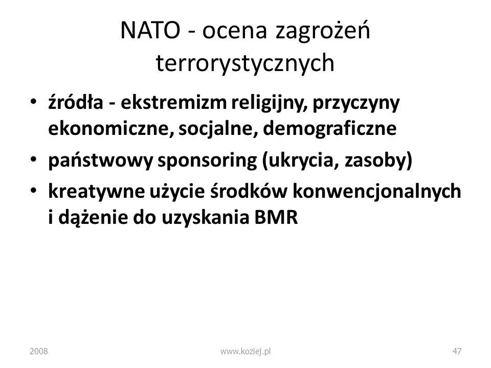 NATO - ocena zagrożeń terrorystycznych źródła - ekstremizm religijny, przyczyny ekonomiczne, socjalne, demograficzne państwowy sponsoring (ukrycia, za