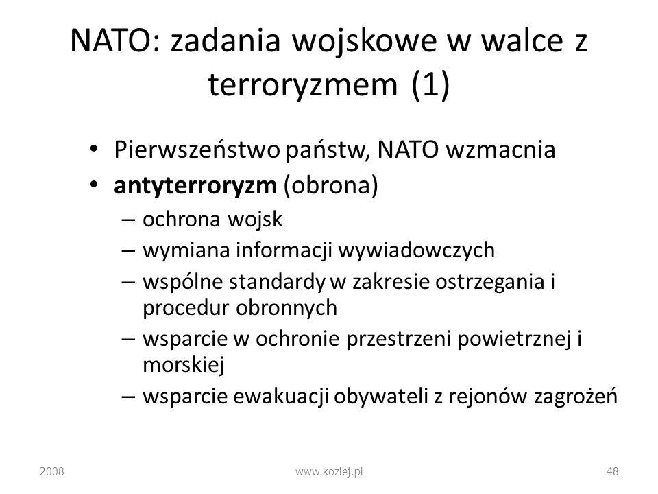 NATO: zadania wojskowe w walce z terroryzmem (1) Pierwszeństwo państw, NATO wzmacnia antyterroryzm (obrona) – ochrona wojsk – wymiana informacji wywia