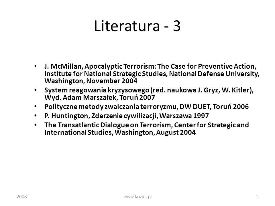 Relacje transatlantyckie – Różnice strategiczne: lider (USA) i grupa pościgowa (Europa) – problem dynamiki dystansu – Francuski syndrom głodu własnych sojuszników – Wojskowa luka technologiczna – Oznaki zbliżenia: przyszłość Iraku, treść strategii UE, wspólna deklaracja UE-USA o walce z terroryzmem i BMR 2008www.koziej.pl56