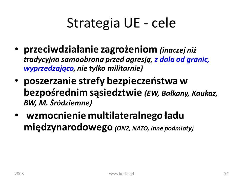 Strategia UE - cele przeciwdziałanie zagrożeniom (inaczej niż tradycyjna samoobrona przed agresją, z dala od granic, wyprzedzająco, nie tylko militarn