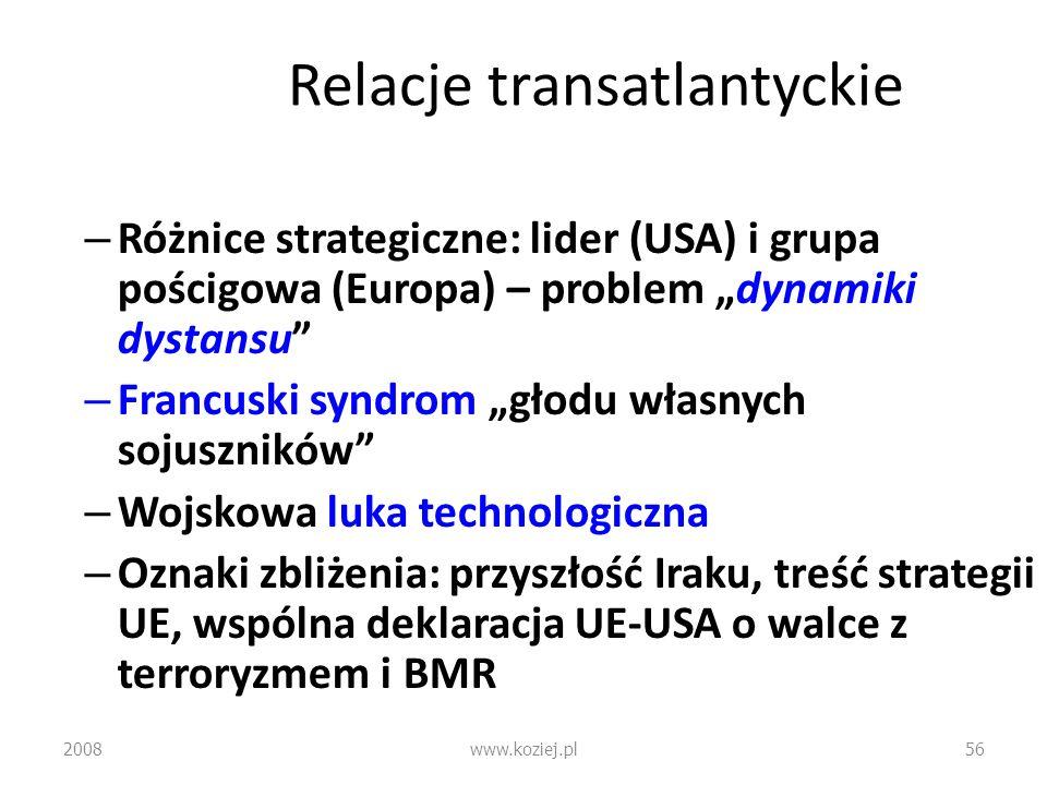 Relacje transatlantyckie – Różnice strategiczne: lider (USA) i grupa pościgowa (Europa) – problem dynamiki dystansu – Francuski syndrom głodu własnych