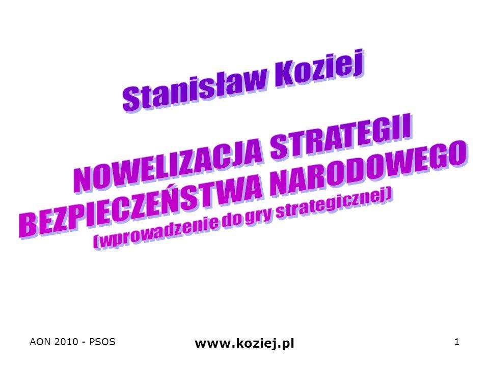 Tematyka 1.Koncepcja i plan gry strategicznej: cel – zaprojektowanie nowelizacji zapisów obowiązującej strategii BN RP 2.Główne problemy nowelizacji strategii bezpieczeństwa narodowego RP 1.Podstawowe kategorie i procedury strategiczne: cykl strategiczny 2.Polska jako podmiot strategii bezpieczeństwa narodowego: relacje między interesami i celami 3.Strategiczne środowisko (warunki) bezpieczeństwa narodowego Polski: szanse, wyzwania, ryzyka, zagrożenia 4.Koncepcja operacyjna strategii bezpieczeństwa narodowego Polski: zapobieganie (współpraca i odstraszanie), reagowanie kryzysowe, obrona 5.Koncepcja preparacyjna strategii bezpieczeństwa narodowego Polski: integracja, profesjonalizacja, powszechność AON 2010 - PSOS www.koziej.pl 2