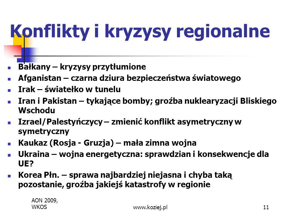 Bałkany – kryzysy przytłumione Afganistan – czarna dziura bezpieczeństwa światowego Irak – światełko w tunelu Iran i Pakistan – tykające bomby; groźba nuklearyzacji Bliskiego Wschodu Izrael/Palestyńczycy – zmienić konflikt asymetryczny w symetryczny Kaukaz (Rosja - Gruzja) – mała zimna wojna Ukraina – wojna energetyczna: sprawdzian i konsekwencje dla UE.