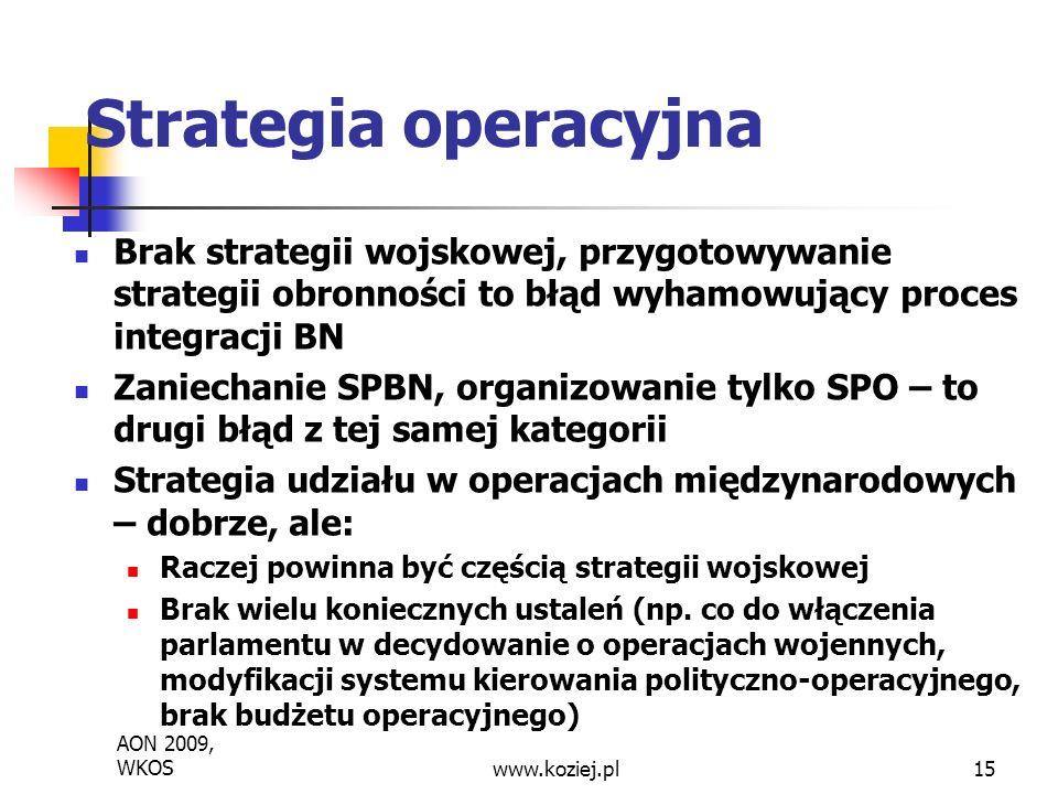 Strategia operacyjna Brak strategii wojskowej, przygotowywanie strategii obronności to błąd wyhamowujący proces integracji BN Zaniechanie SPBN, organizowanie tylko SPO – to drugi błąd z tej samej kategorii Strategia udziału w operacjach międzynarodowych – dobrze, ale: Raczej powinna być częścią strategii wojskowej Brak wielu koniecznych ustaleń (np.