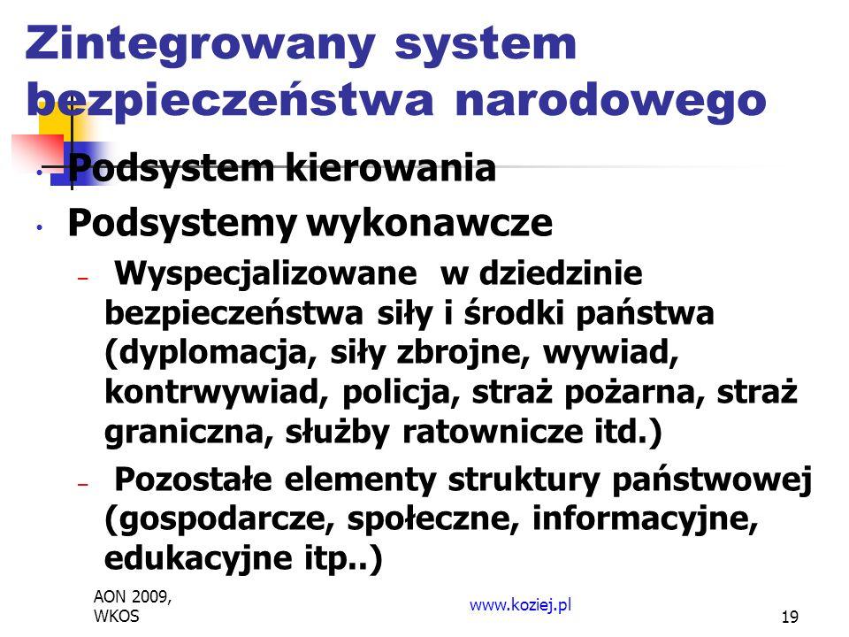 Podsystem kierowania Podsystemy wykonawcze – Wyspecjalizowane w dziedzinie bezpieczeństwa siły i środki państwa (dyplomacja, siły zbrojne, wywiad, kontrwywiad, policja, straż pożarna, straż graniczna, służby ratownicze itd.) – Pozostałe elementy struktury państwowej (gospodarcze, społeczne, informacyjne, edukacyjne itp..) AON 2009, WKOS www.koziej.pl 19 Zintegrowany system bezpieczeństwa narodowego
