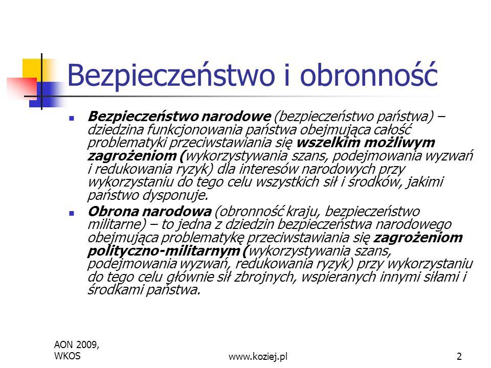 AON 2009, WKOSwww.koziej.pl2 Bezpieczeństwo i obronność Bezpieczeństwo narodowe (bezpieczeństwo państwa) – dziedzina funkcjonowania państwa obejmująca