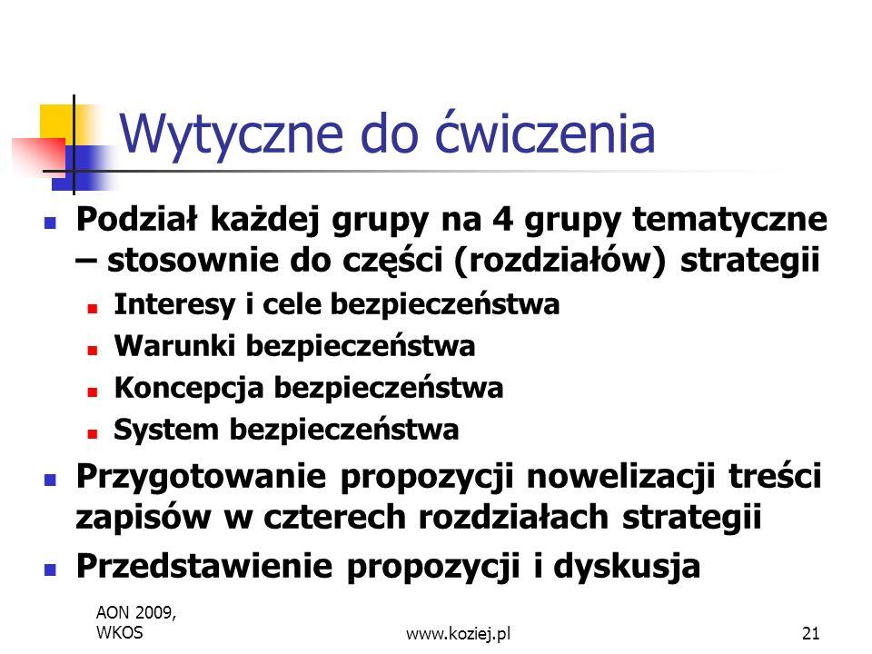 Podział każdej grupy na 4 grupy tematyczne – stosownie do części (rozdziałów) strategii Interesy i cele bezpieczeństwa Warunki bezpieczeństwa Koncepcja bezpieczeństwa System bezpieczeństwa Przygotowanie propozycji nowelizacji treści zapisów w czterech rozdziałach strategii Przedstawienie propozycji i dyskusja Wytyczne do ćwiczenia AON 2009, WKOSwww.koziej.pl21