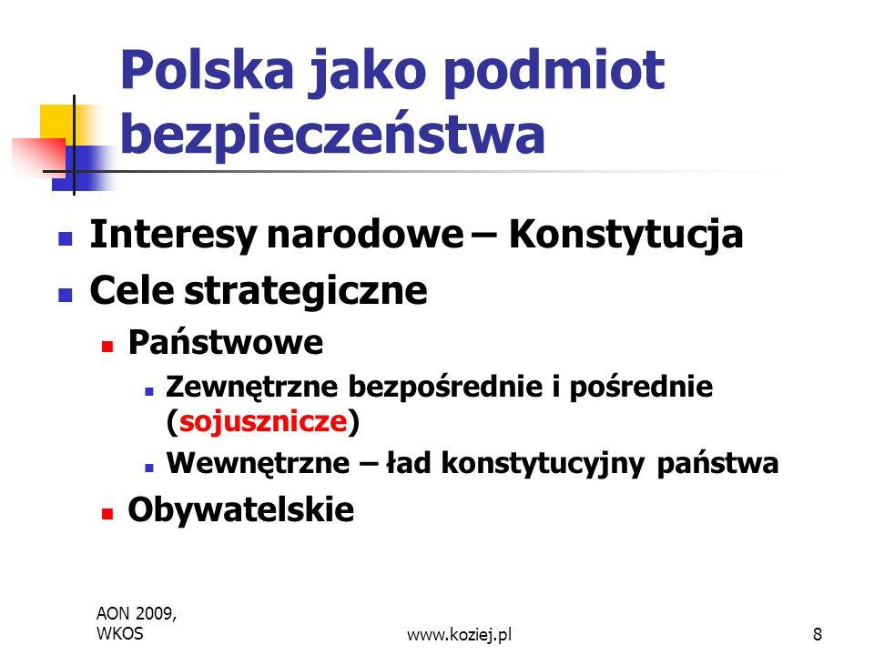 AON 2009, WKOS www.koziej.pl 9 Zmiana globalnego środowiska bezpieczeństwa Globalizacja i rewolucja informacyjna - środowisko GLOBINFO – zglobalizowane i uinformacyjnione, sieciowe Rewolucja polityczna – asymetryzacja środowiska -rozpad symetrycznego świata dwubiegunowego i erupcja asymetrycznych relacji bezpieczeństwa nuklearnego i konwencjonalnego Rewolucja strukturalna - podmioty niepaństwowe, państwa problemowe (zbójeckie i upadłe), mocarstwa wschodzące