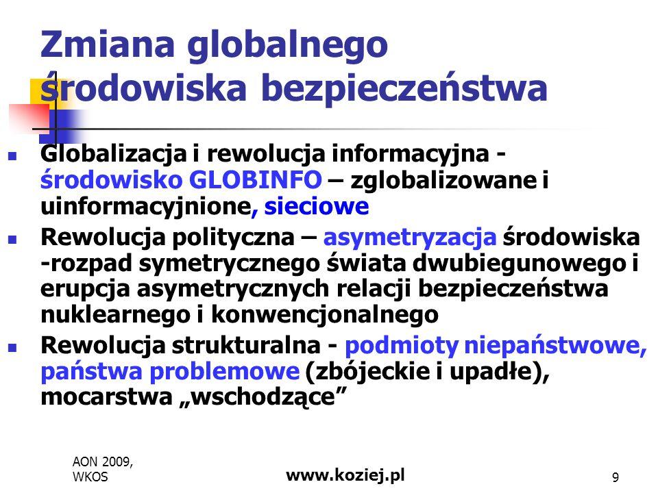 AON 2009, WKOS www.koziej.pl 20 Projektowanie strategii bezpieczeństwa według cyklu strategicznego Identyfikacja interesów narodowych i celów strategicznych w dziedzinie bezpieczeństwa Ocena warunków bezpieczeństwa (zewnętrzne i wewnętrzne potrzeby i możliwości) Formułowanie koncepcji działania (operacyjnej) – myśl przewodnia i zadania działowe (dziedzinowe, sektorowe) Ustanawianie systemu bezpieczeństwa i koncepcji jego rozwoju (transformacji)