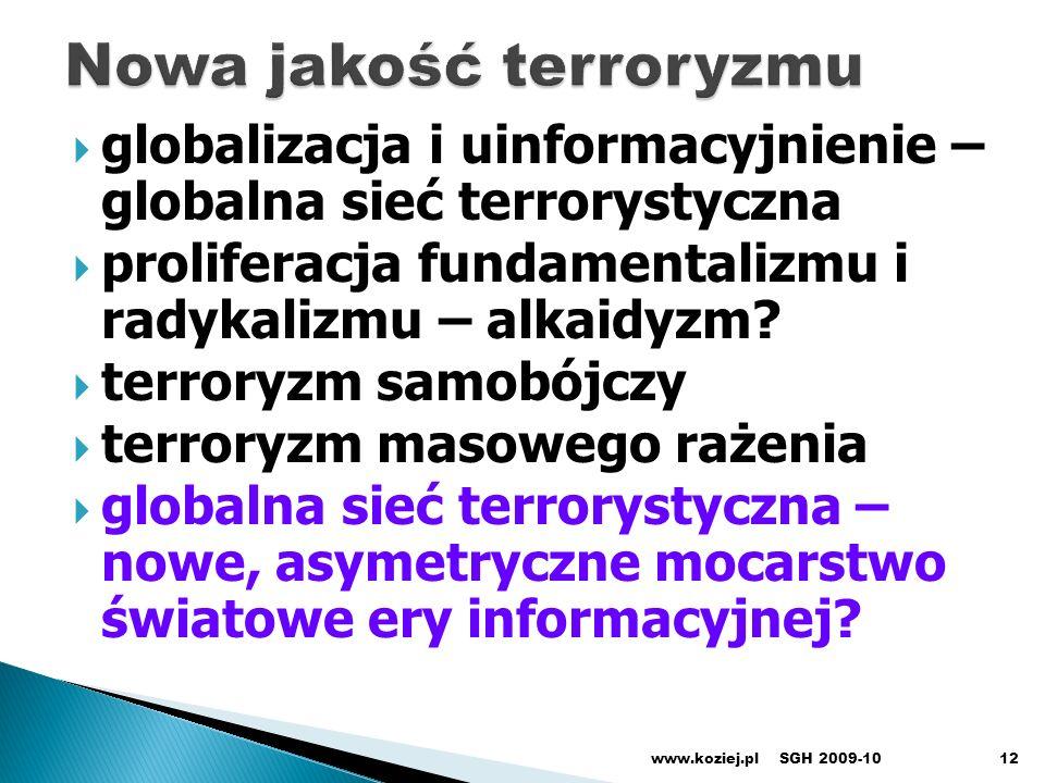 globalizacja i uinformacyjnienie – globalna sieć terrorystyczna proliferacja fundamentalizmu i radykalizmu – alkaidyzm? terroryzm samobójczy terroryzm