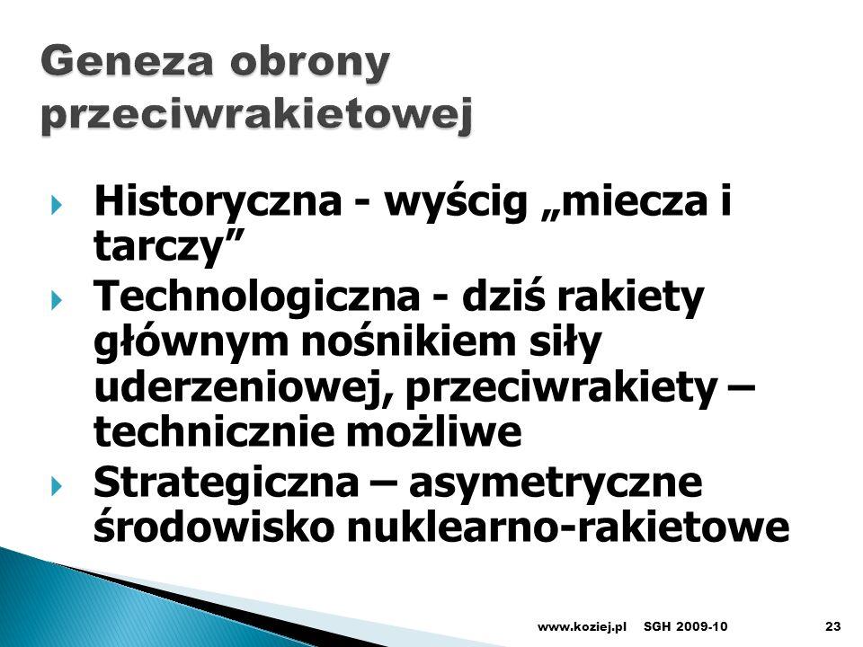 www.koziej.pl23 Historyczna - wyścig miecza i tarczy Technologiczna - dziś rakiety głównym nośnikiem siły uderzeniowej, przeciwrakiety – technicznie m