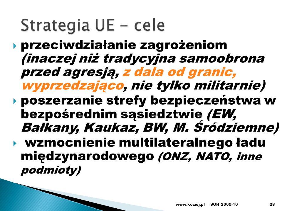 28 przeciwdziałanie zagrożeniom (inaczej niż tradycyjna samoobrona przed agresją, z dala od granic, wyprzedzająco, nie tylko militarnie) poszerzanie s