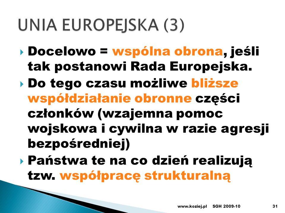 31 Docelowo = wspólna obrona, jeśli tak postanowi Rada Europejska. Do tego czasu możliwe bliższe współdziałanie obronne części członków (wzajemna pomo