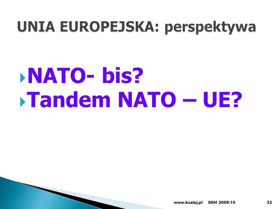 NATO- bis? Tandem NATO – UE? www.koziej.pl32SGH 2009-10