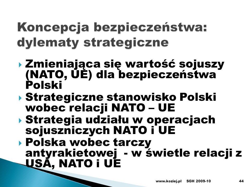 Zmieniająca się wartość sojuszy (NATO, UE) dla bezpieczeństwa Polski Strategiczne stanowisko Polski wobec relacji NATO – UE Strategia udziału w operac