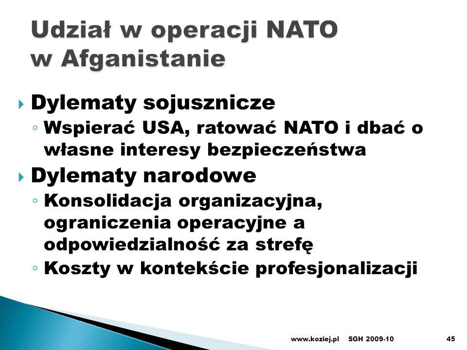 Dylematy sojusznicze Wspierać USA, ratować NATO i dbać o własne interesy bezpieczeństwa Dylematy narodowe Konsolidacja organizacyjna, ograniczenia ope