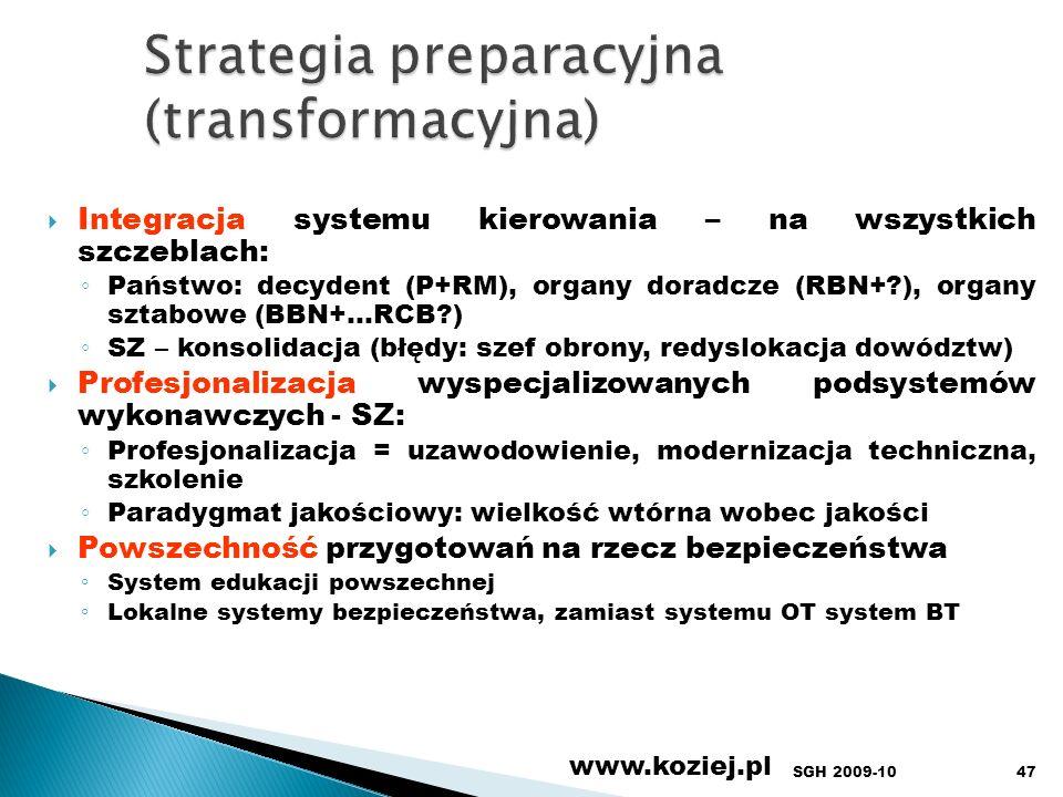 www.koziej.pl 47 Integracja systemu kierowania – na wszystkich szczeblach: Państwo: decydent (P+RM), organy doradcze (RBN+?), organy sztabowe (BBN+…RC