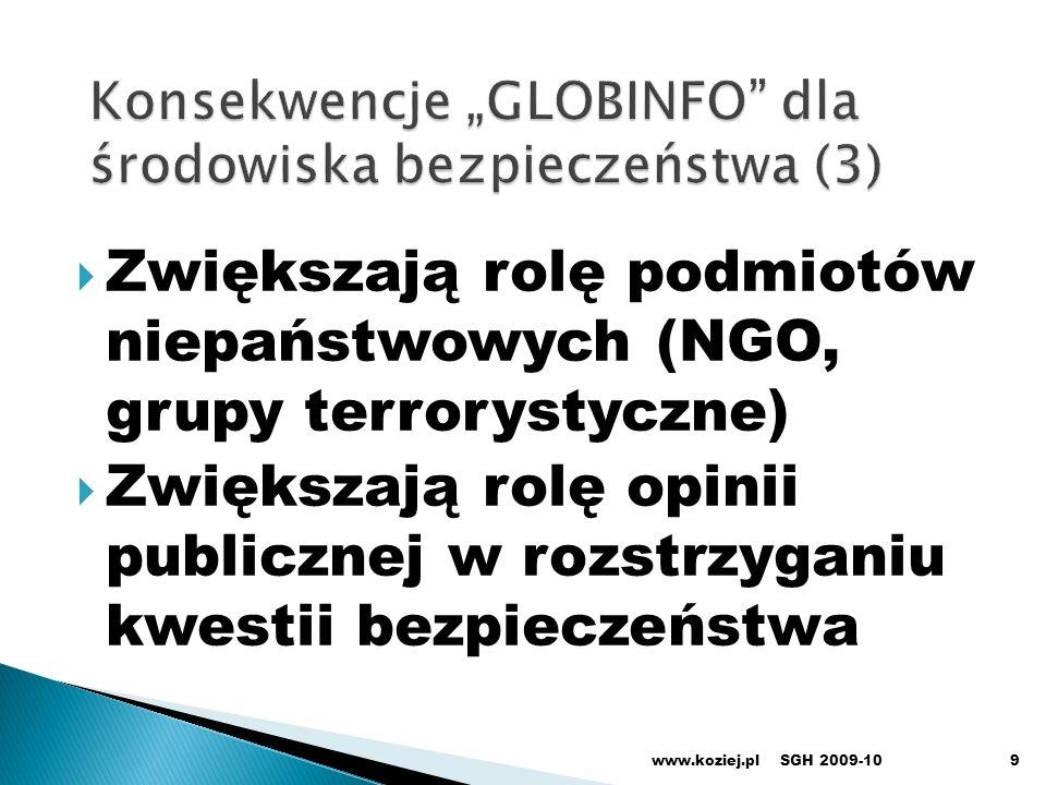 Zwiększają rolę podmiotów niepaństwowych (NGO, grupy terrorystyczne) Zwiększają rolę opinii publicznej w rozstrzyganiu kwestii bezpieczeństwa www.kozi