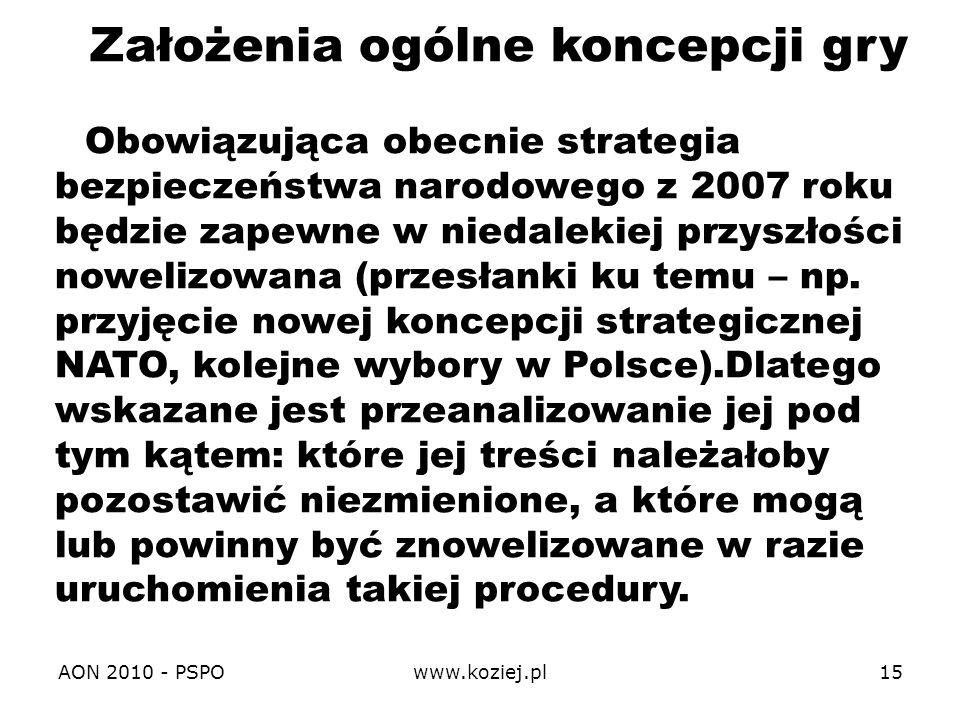 AON 2010 - PSPOwww.koziej.pl15 Założenia ogólne koncepcji gry Obowiązująca obecnie strategia bezpieczeństwa narodowego z 2007 roku będzie zapewne w ni