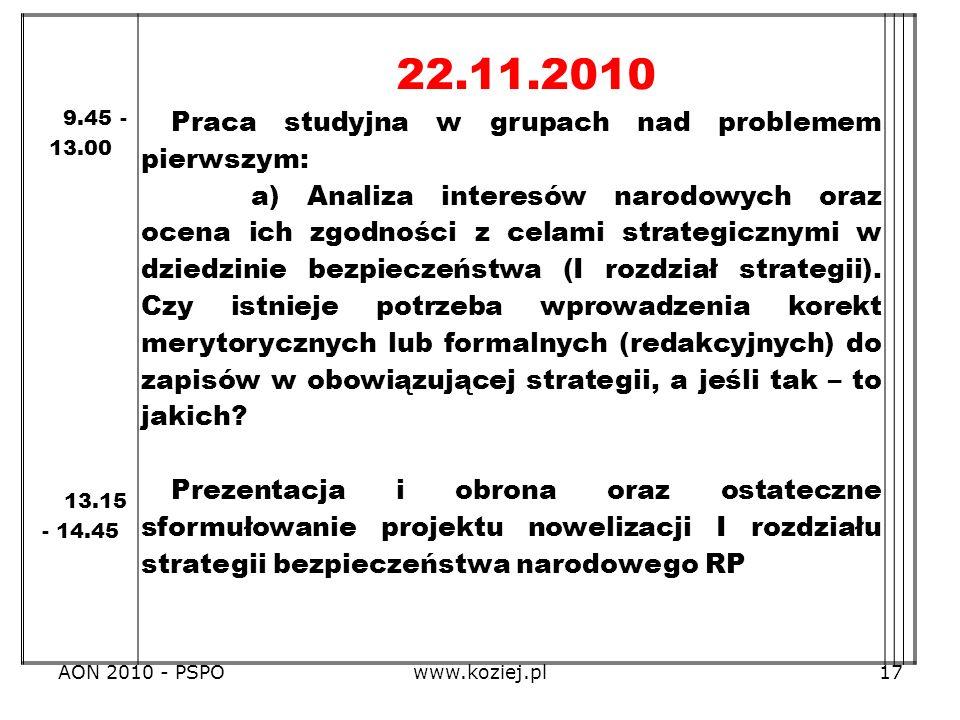 AON 2010 - PSPOwww.koziej.pl17 9.45 - 13.00 13.15 - 14.45 22.11.2010 Praca studyjna w grupach nad problemem pierwszym: a) Analiza interesów narodowych
