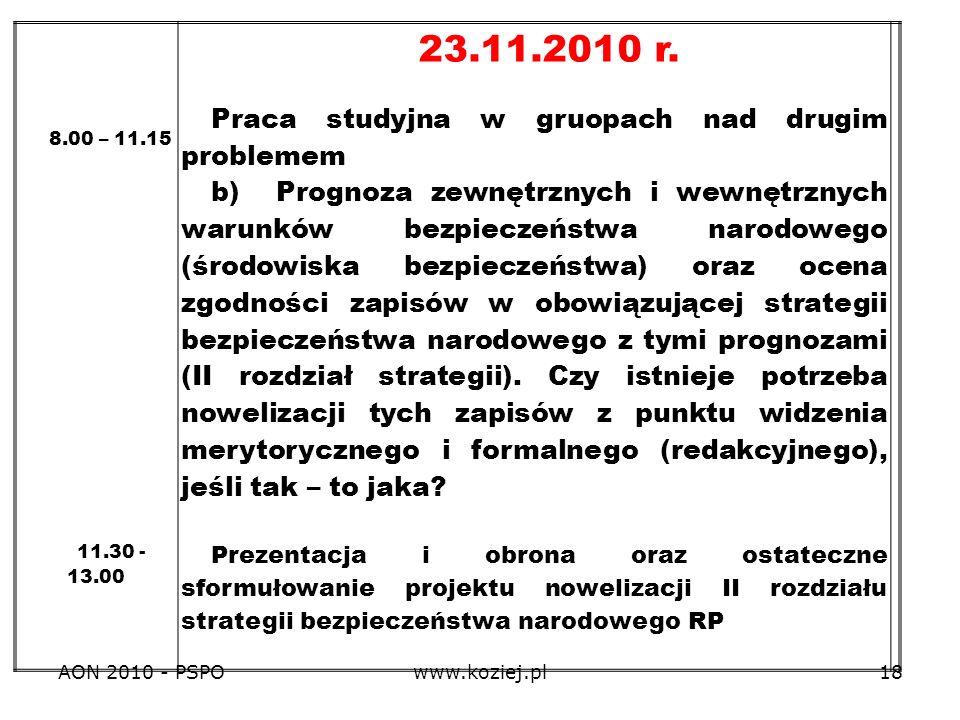 AON 2010 - PSPOwww.koziej.pl18 8.00 – 11.15 11.30 - 13.00 23.11.2010 r. Praca studyjna w gruopach nad drugim problemem b) Prognoza zewnętrznych i wewn