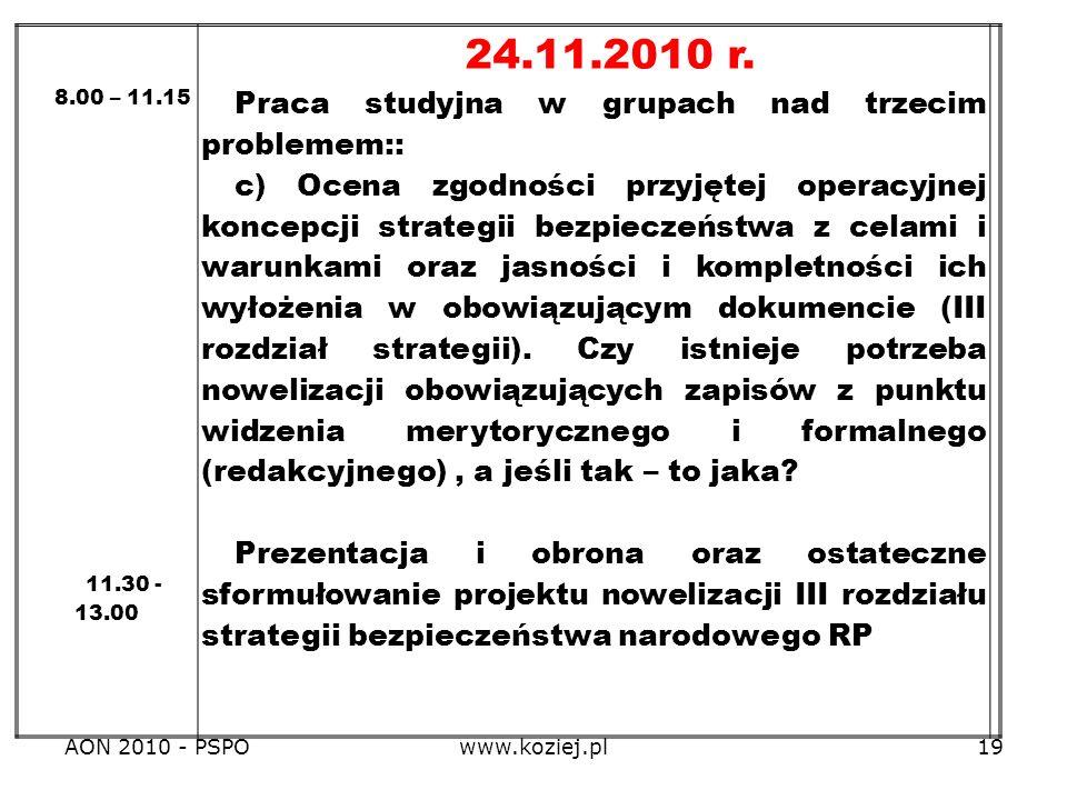 AON 2010 - PSPOwww.koziej.pl19 8.00 – 11.15 11.30 - 13.00 24.11.2010 r. Praca studyjna w grupach nad trzecim problemem:: c) Ocena zgodności przyjętej