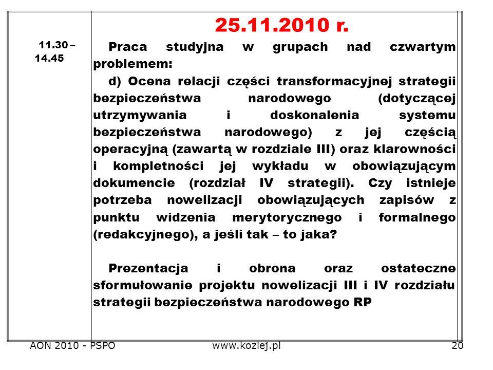 AON 2010 - PSPOwww.koziej.pl20 11.30 – 14.45 25.11.2010 r. Praca studyjna w grupach nad czwartym problemem: d) Ocena relacji części transformacyjnej s