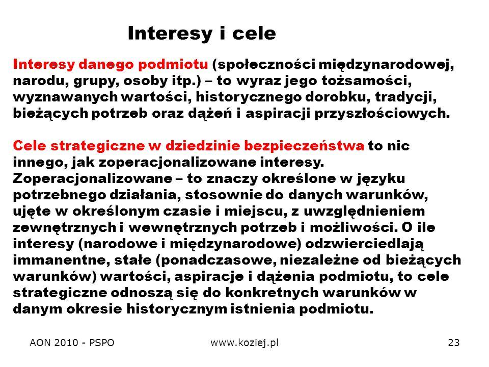 AON 2010 - PSPOwww.koziej.pl23 Interesy danego podmiotu (społeczności międzynarodowej, narodu, grupy, osoby itp.) – to wyraz jego tożsamości, wyznawan