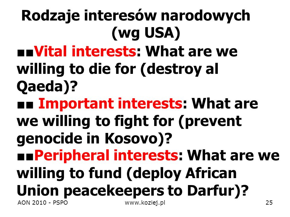 Vital interests: What are we willing to die for (destroy al Qaeda)? Important interests: What are we willing to fight for (prevent genocide in Kosovo)