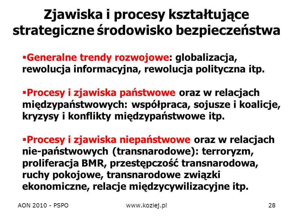 AON 2010 - PSPOwww.koziej.pl28 Zjawiska i procesy kształtujące strategiczne środowisko bezpieczeństwa Generalne trendy rozwojowe: globalizacja, rewolu