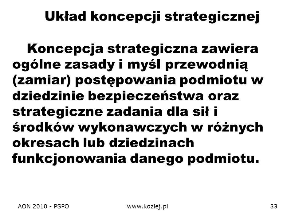 AON 2010 - PSPOwww.koziej.pl33 Koncepcja strategiczna zawiera ogólne zasady i myśl przewodnią (zamiar) postępowania podmiotu w dziedzinie bezpieczeńst