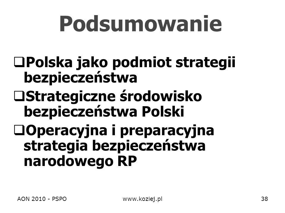 AON 2010 - PSPOwww.koziej.pl38 Podsumowanie Polska jako podmiot strategii bezpieczeństwa Strategiczne środowisko bezpieczeństwa Polski Operacyjna i pr
