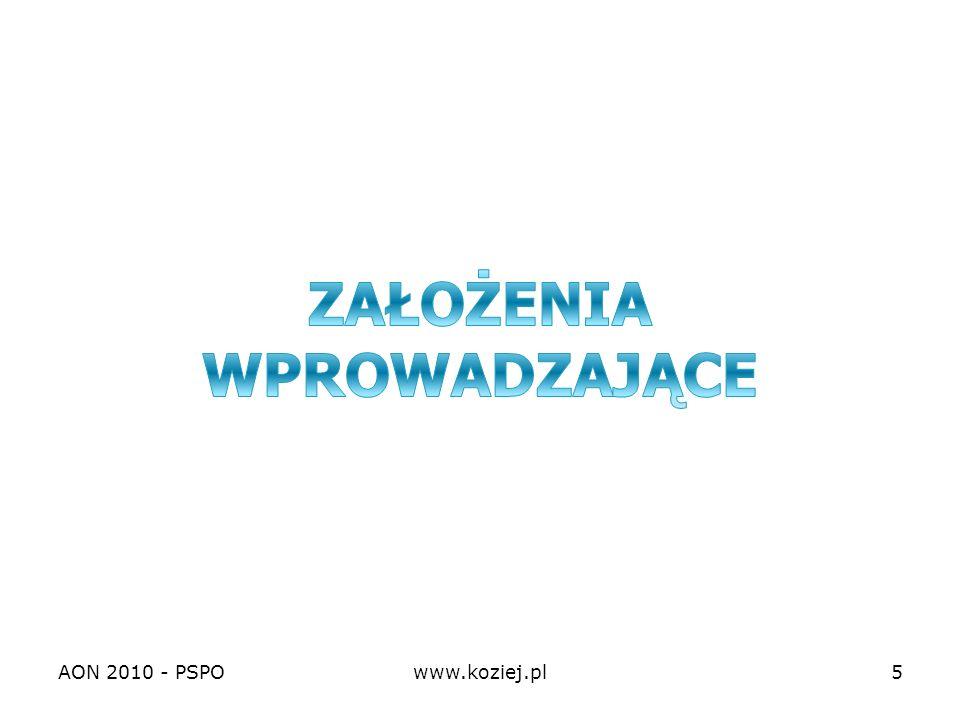 AON 2010 - PSPOwww.koziej.pl16 Zadanie studyjne Studenci PSPO tworząc dwie niezależne grupy studyjne przeprowadzają krytyczną analizę obowiązującego dokumentu i wypracowują projekt znowelizowanej strategii bezpieczeństwa narodowego zgodny z przewidywanymi przyszłościowo warunkami środowiska bezpieczeństwa narodowego RP.