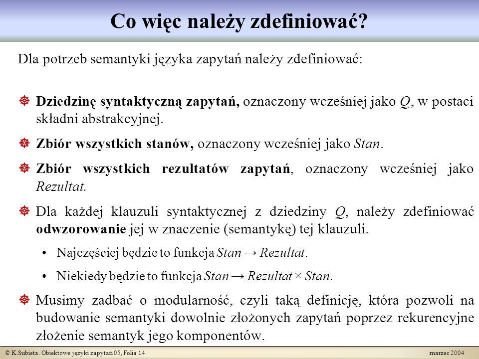 © K.Subieta.Obiektowe języki zapytań 05, Folia 15 marzec 2004 Co to jest stan .